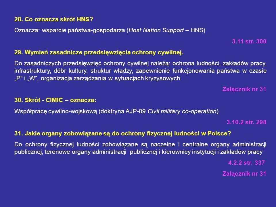 28. Co oznacza skrót HNS Oznacza: wsparcie państwa-gospodarza (Host Nation Support – HNS) 3.11 str. 300.