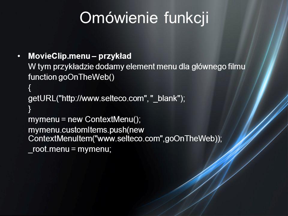 Omówienie funkcji MovieClip.menu – przykład