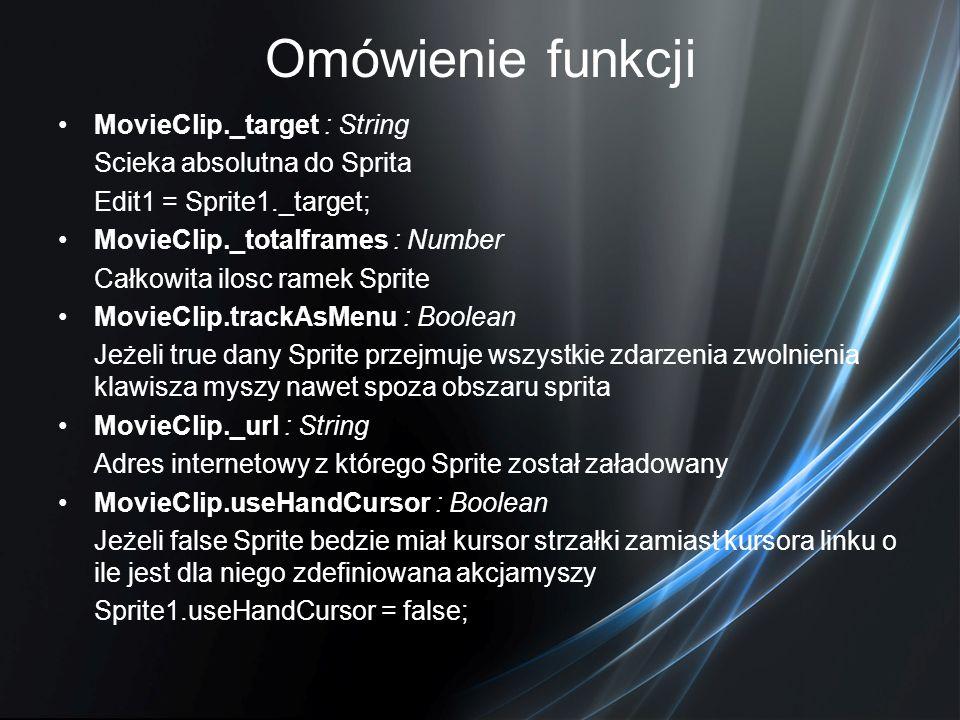 Omówienie funkcji MovieClip._target : String