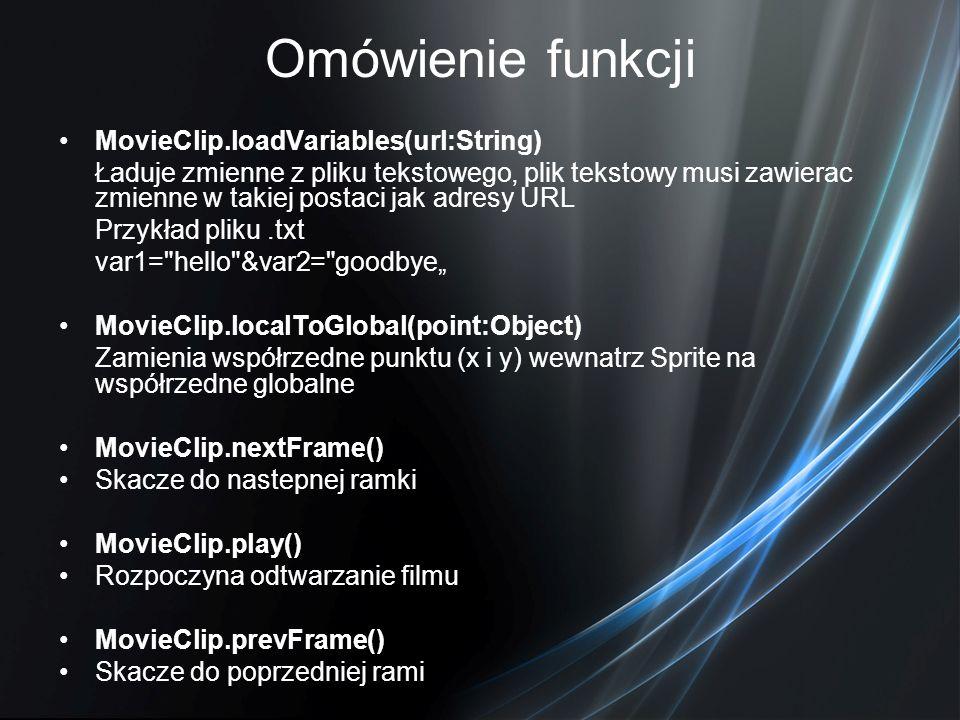 Omówienie funkcji MovieClip.loadVariables(url:String)