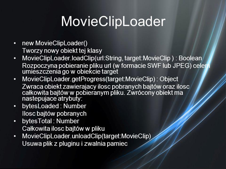 MovieClipLoader new MovieClipLoader() Tworzy nowy obiekt tej klasy
