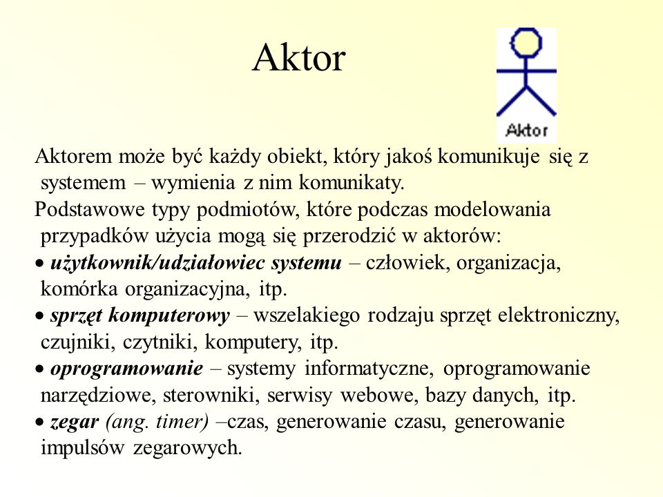 AktorAktorem może być każdy obiekt, który jakoś komunikuje się z systemem – wymienia z nim komunikaty.