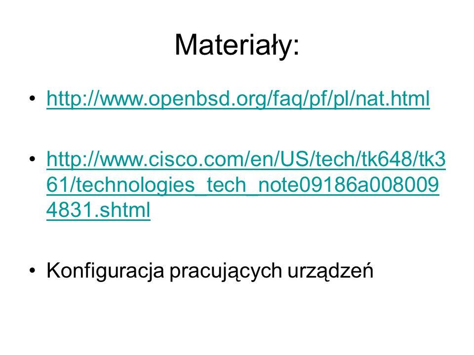 Materiały: http://www.openbsd.org/faq/pf/pl/nat.html