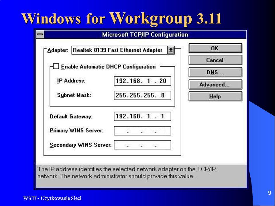 Windows for Workgroup 3.11 WSTI - Użytkowanie Sieci