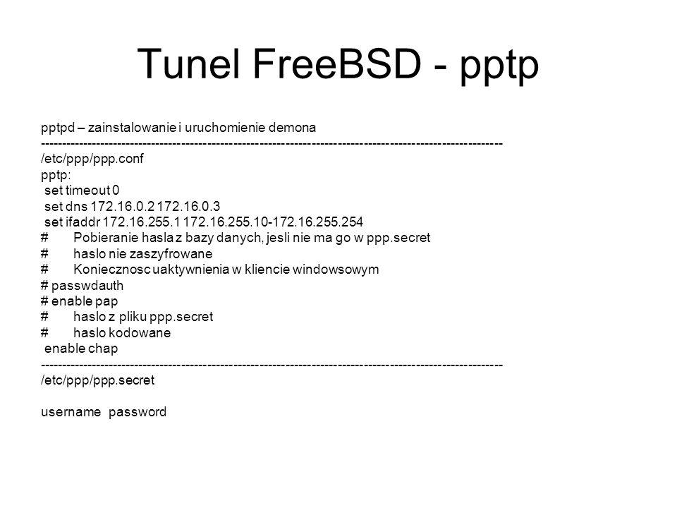 Tunel FreeBSD - pptp pptpd – zainstalowanie i uruchomienie demona