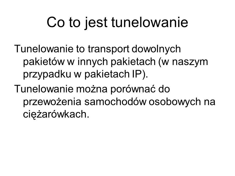 Co to jest tunelowanie Tunelowanie to transport dowolnych pakietów w innych pakietach (w naszym przypadku w pakietach IP).