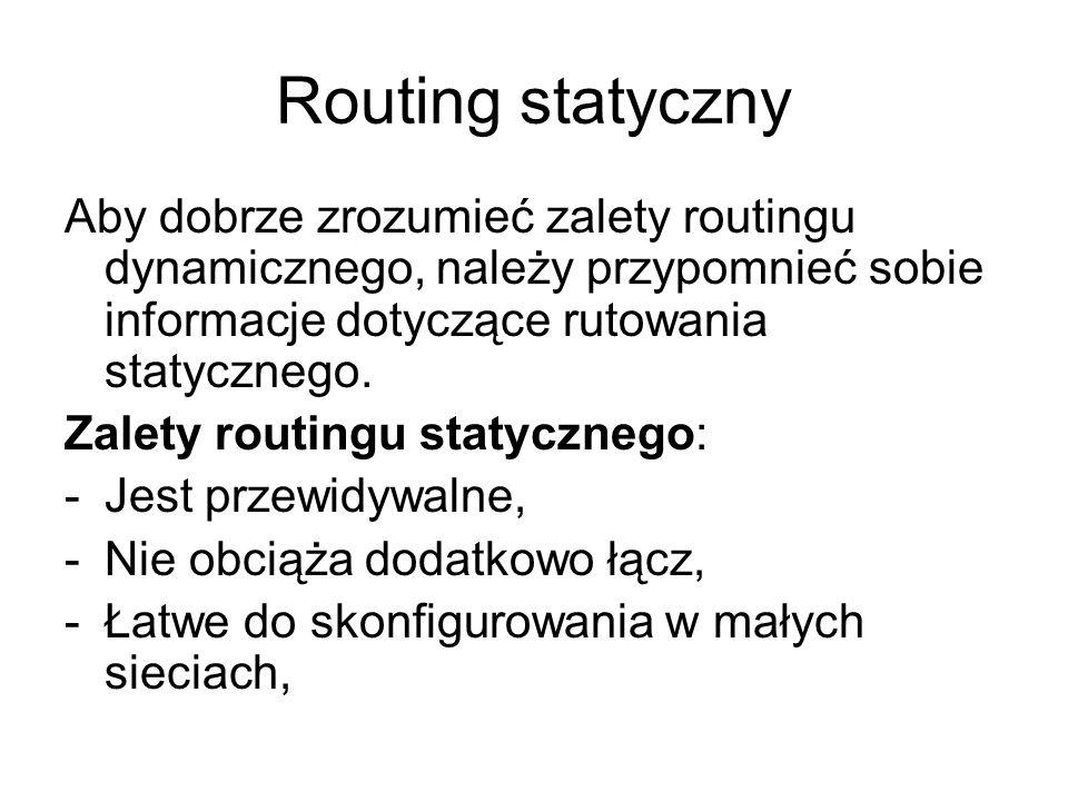 Routing statyczny Aby dobrze zrozumieć zalety routingu dynamicznego, należy przypomnieć sobie informacje dotyczące rutowania statycznego.