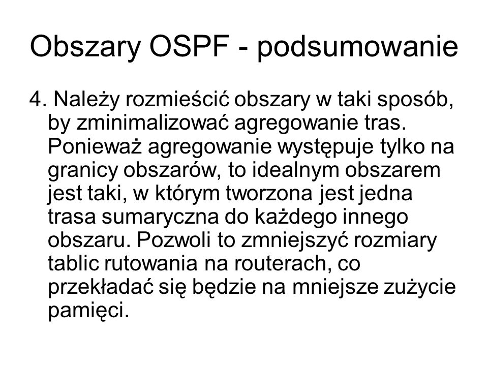 Obszary OSPF - podsumowanie