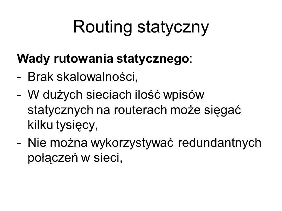 Routing statyczny Wady rutowania statycznego: Brak skalowalności,