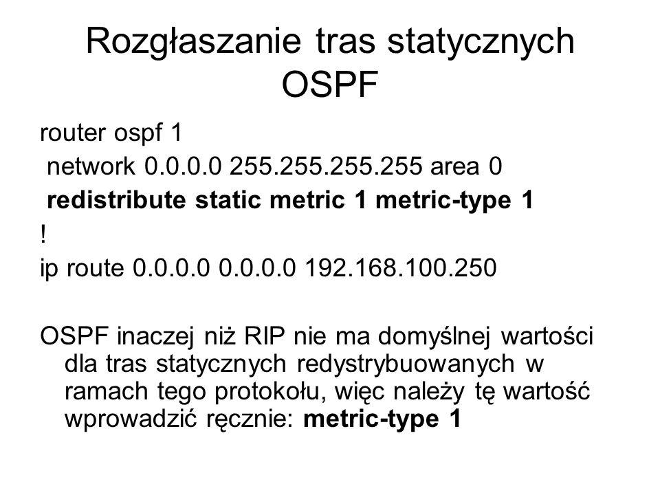 Rozgłaszanie tras statycznych OSPF