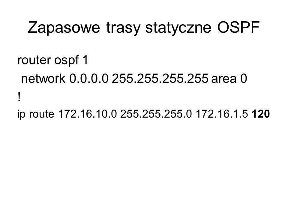 Zapasowe trasy statyczne OSPF