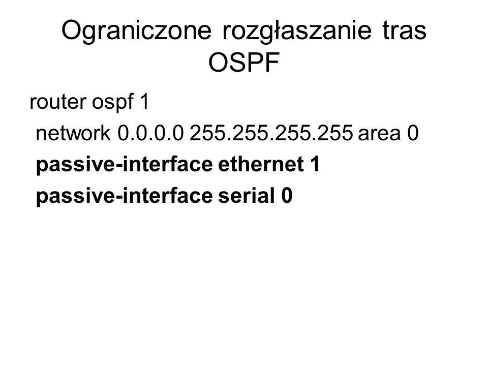 Ograniczone rozgłaszanie tras OSPF