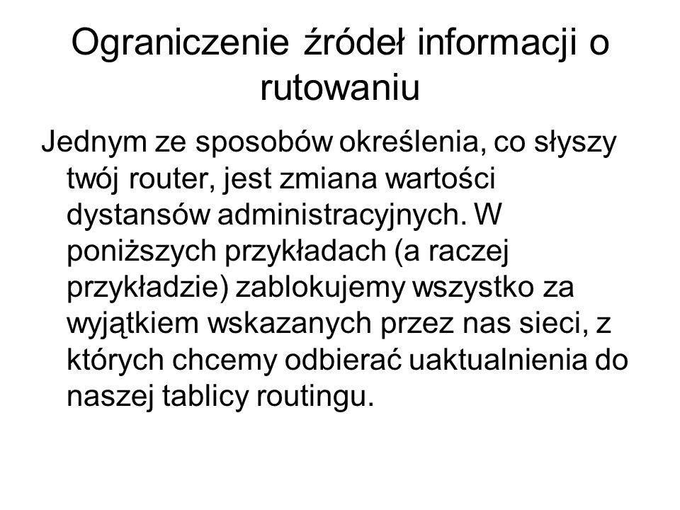 Ograniczenie źródeł informacji o rutowaniu