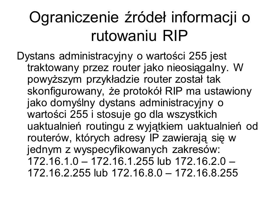 Ograniczenie źródeł informacji o rutowaniu RIP