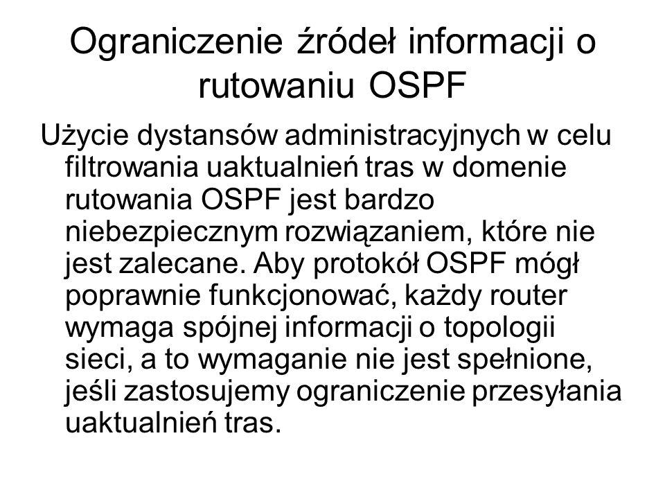 Ograniczenie źródeł informacji o rutowaniu OSPF