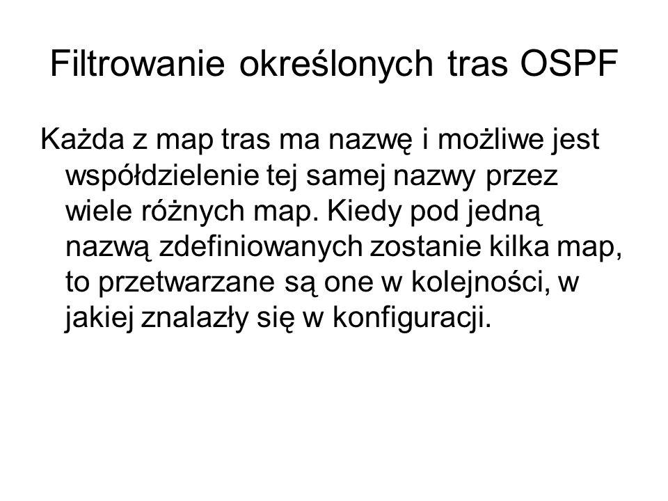Filtrowanie określonych tras OSPF
