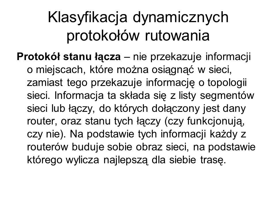 Klasyfikacja dynamicznych protokołów rutowania