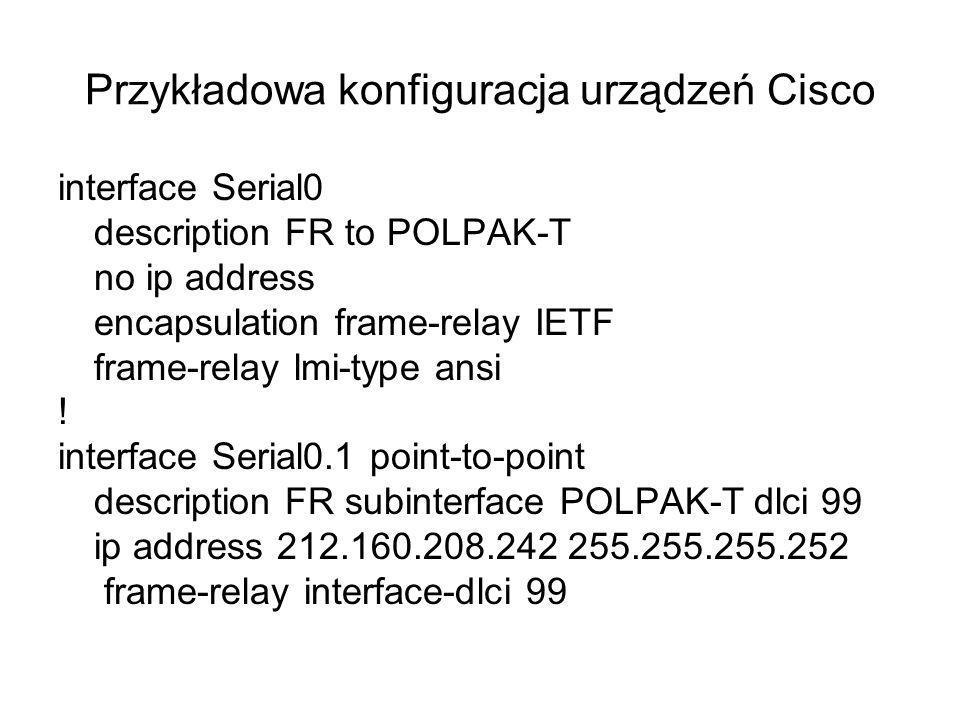 Przykładowa konfiguracja urządzeń Cisco