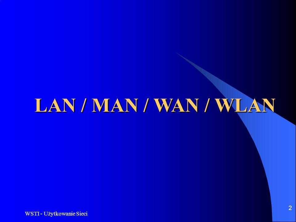 LAN / MAN / WAN / WLAN WSTI - Użytkowanie Sieci