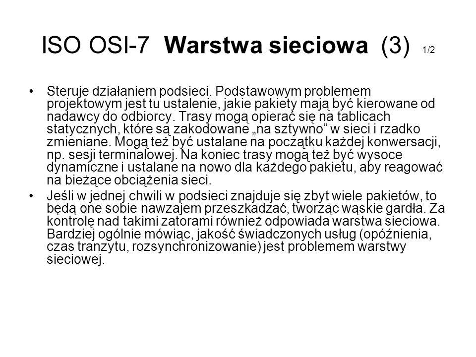 ISO OSI-7 Warstwa sieciowa (3) 1/2