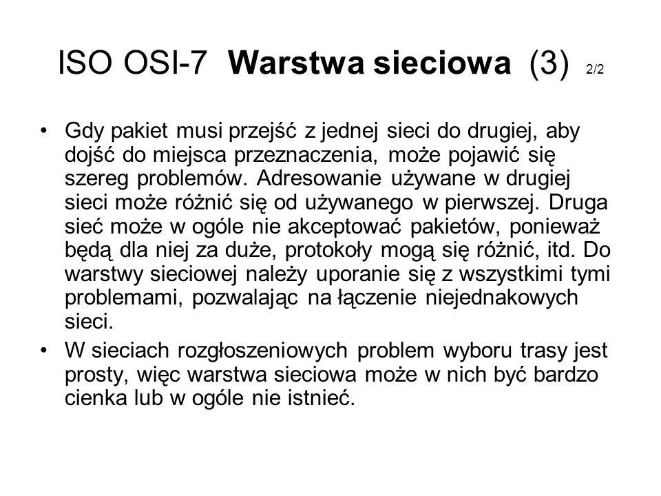 ISO OSI-7 Warstwa sieciowa (3) 2/2