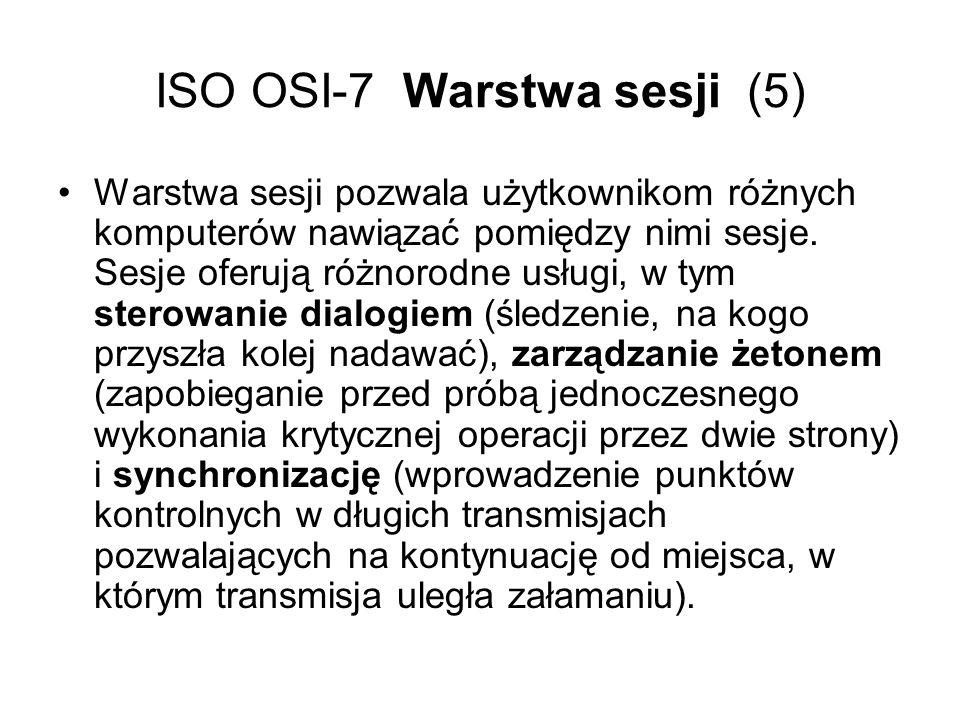 ISO OSI-7 Warstwa sesji (5)