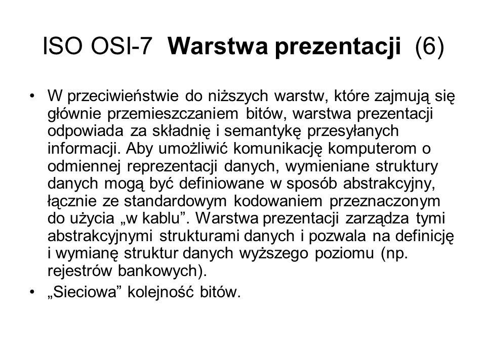 ISO OSI-7 Warstwa prezentacji (6)