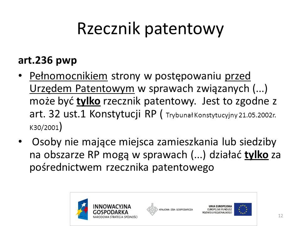 Rzecznik patentowy art.236 pwp