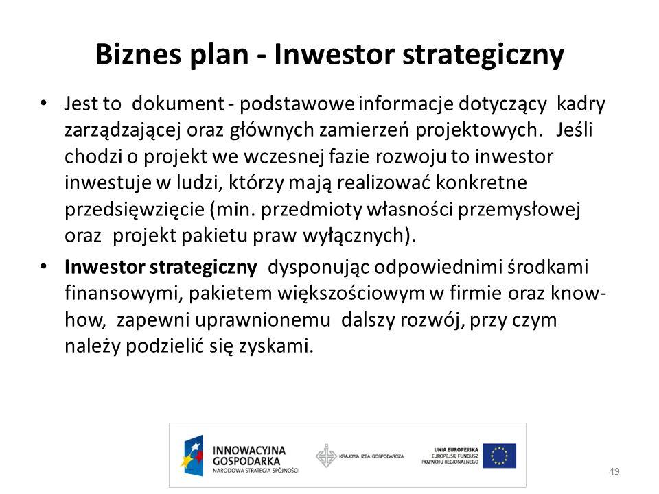 Biznes plan - Inwestor strategiczny
