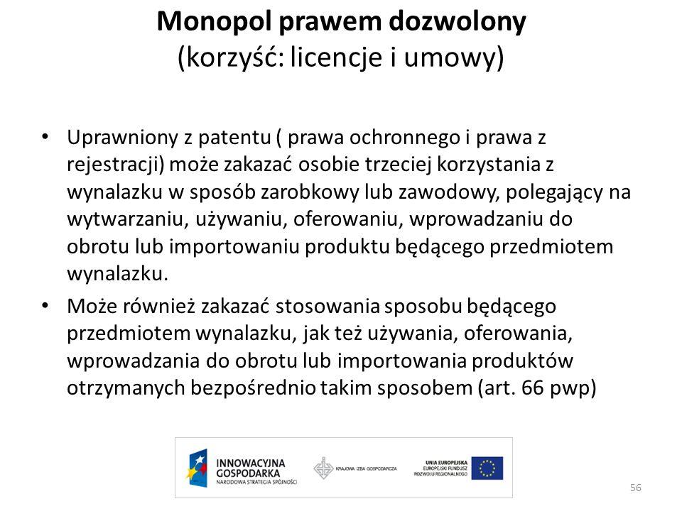Monopol prawem dozwolony (korzyść: licencje i umowy)