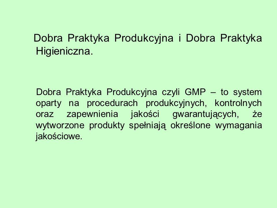 Dobra Praktyka Produkcyjna i Dobra Praktyka Higieniczna.
