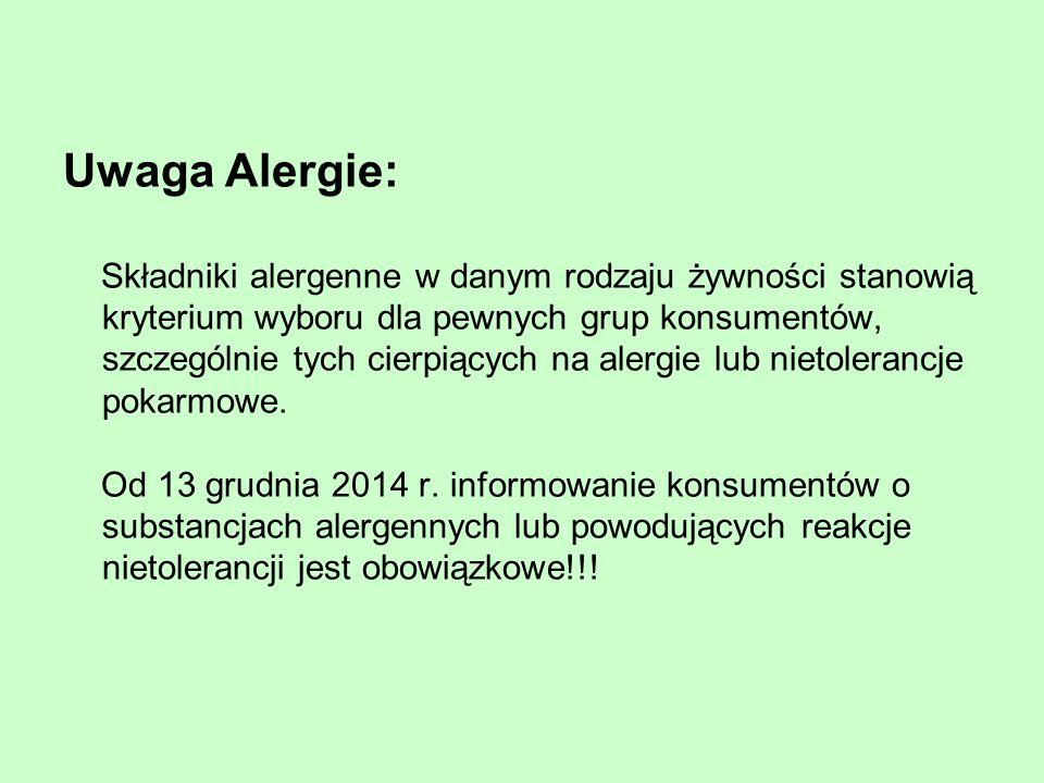 Uwaga Alergie: