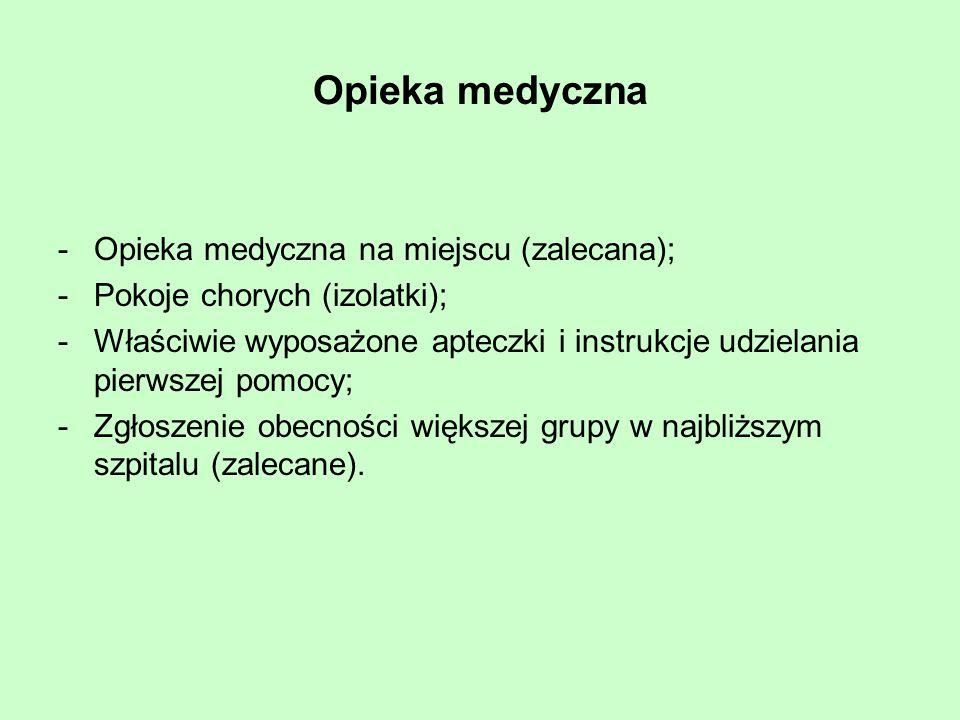 Opieka medyczna Opieka medyczna na miejscu (zalecana);