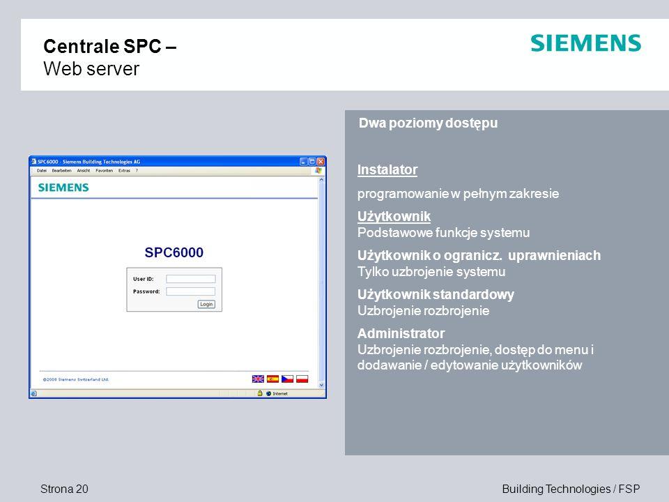 Centrale SPC – Web server