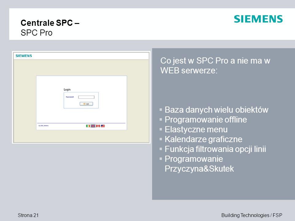 Centrale SPC – SPC Pro Co jest w SPC Pro a nie ma w WEB serwerze: Baza danych wielu obiektów. Programowanie offline.
