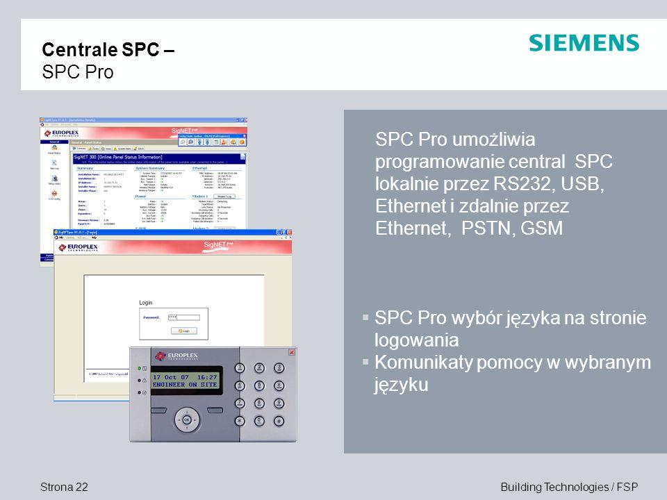 Centrale SPC – SPC Pro SPC Pro umożliwia programowanie central SPC lokalnie przez RS232, USB, Ethernet i zdalnie przez Ethernet, PSTN, GSM.