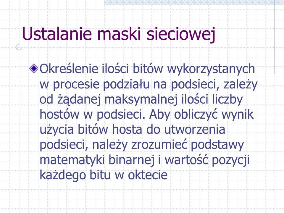 Ustalanie maski sieciowej