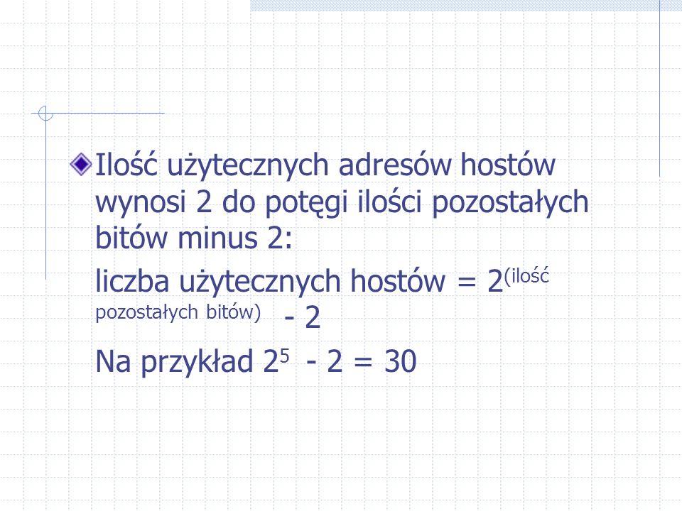 Ilość użytecznych adresów hostów wynosi 2 do potęgi ilości pozostałych bitów minus 2: