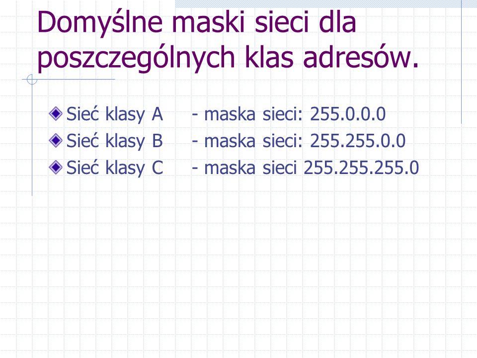 Domyślne maski sieci dla poszczególnych klas adresów.