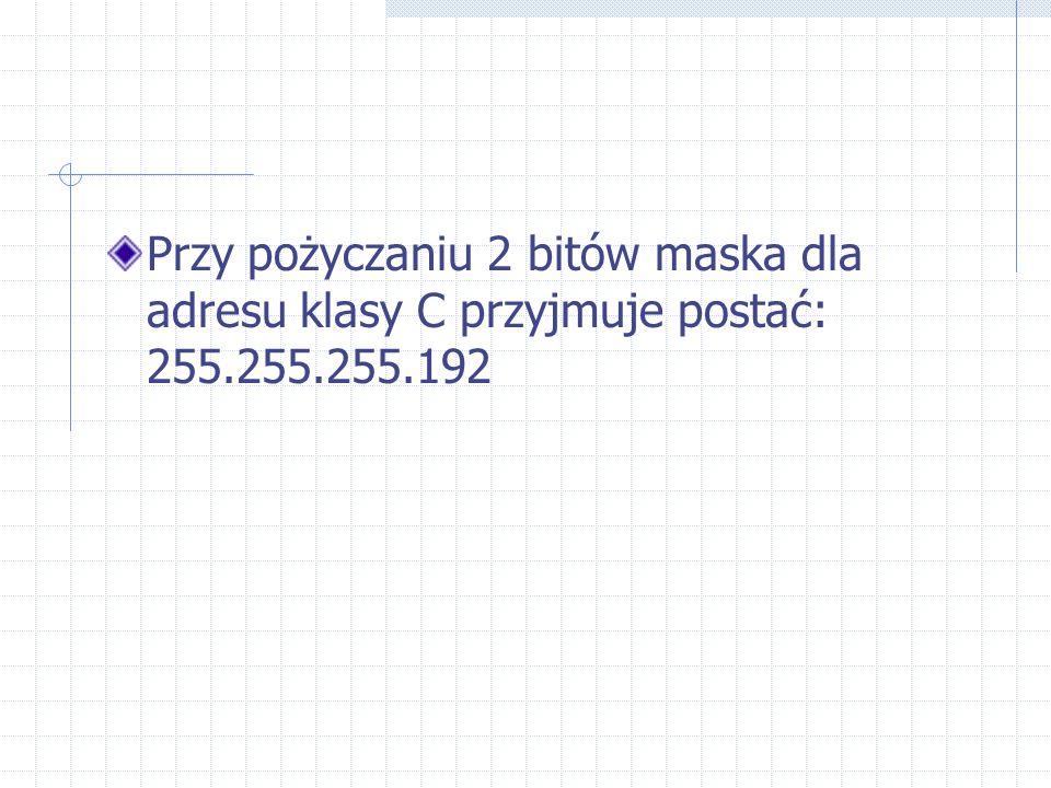 Przy pożyczaniu 2 bitów maska dla adresu klasy C przyjmuje postać: 255