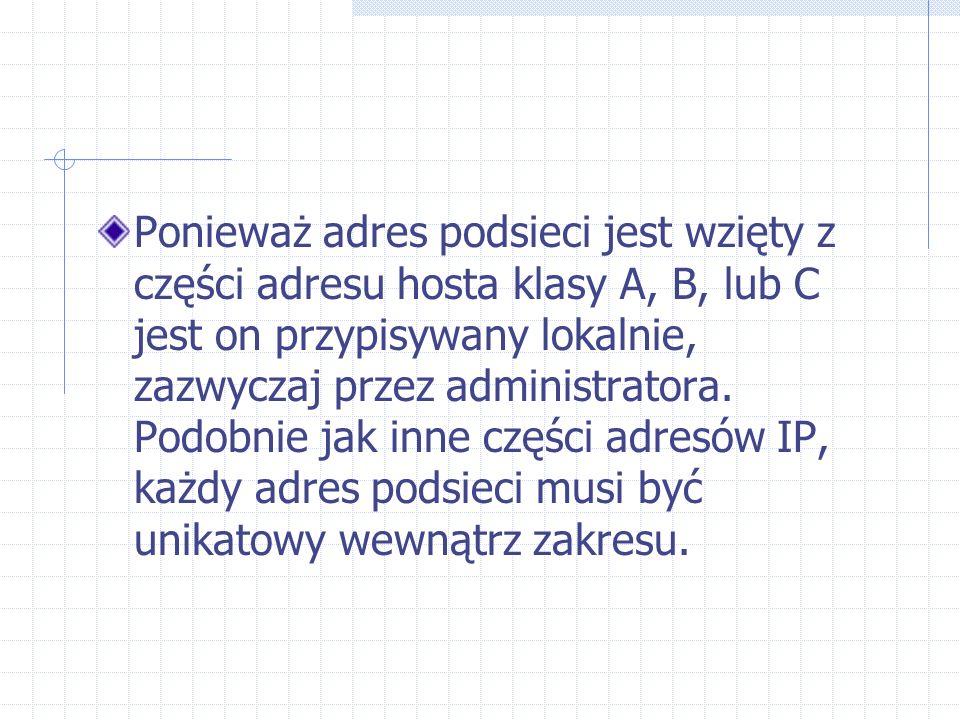 Ponieważ adres podsieci jest wzięty z części adresu hosta klasy A, B, lub C jest on przypisywany lokalnie, zazwyczaj przez administratora.
