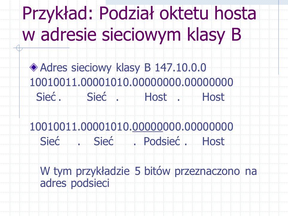 Przykład: Podział oktetu hosta w adresie sieciowym klasy B