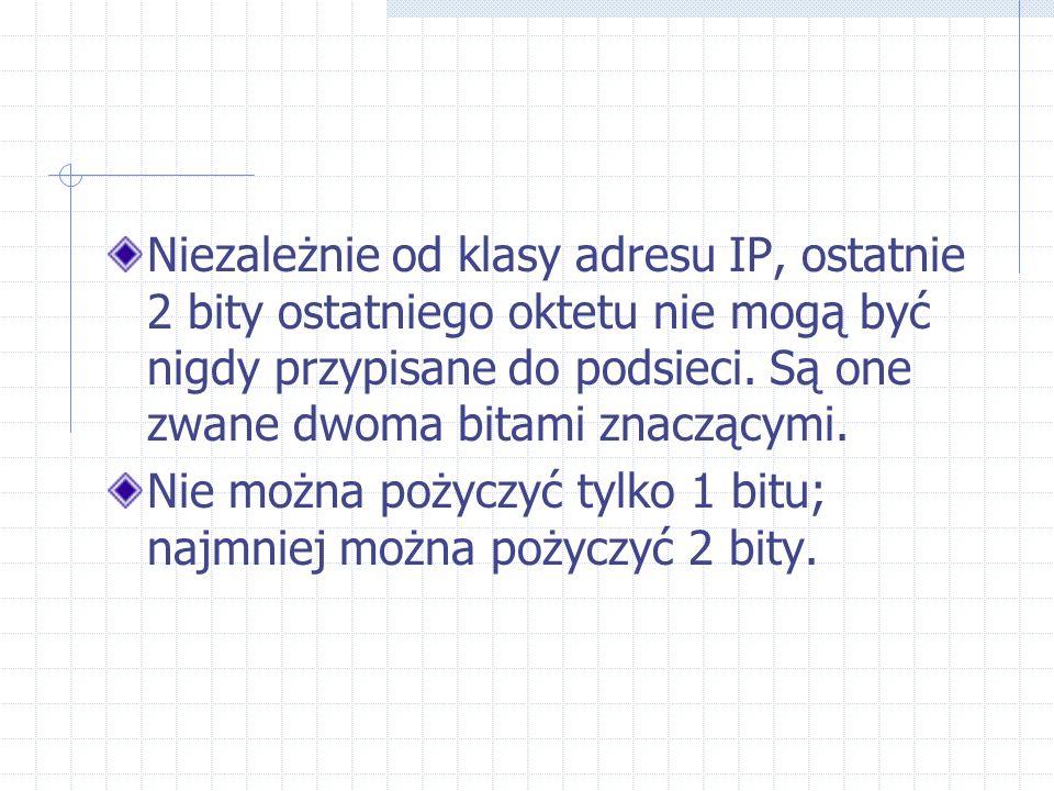 Niezależnie od klasy adresu IP, ostatnie 2 bity ostatniego oktetu nie mogą być nigdy przypisane do podsieci. Są one zwane dwoma bitami znaczącymi.