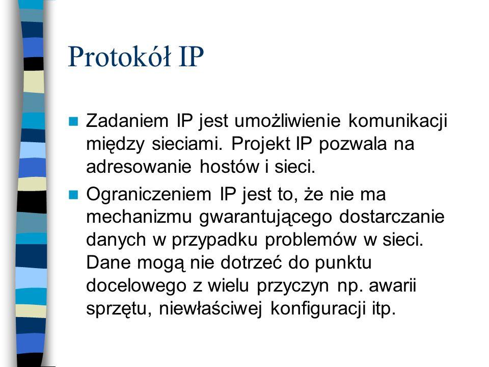 Protokół IPZadaniem IP jest umożliwienie komunikacji między sieciami. Projekt IP pozwala na adresowanie hostów i sieci.