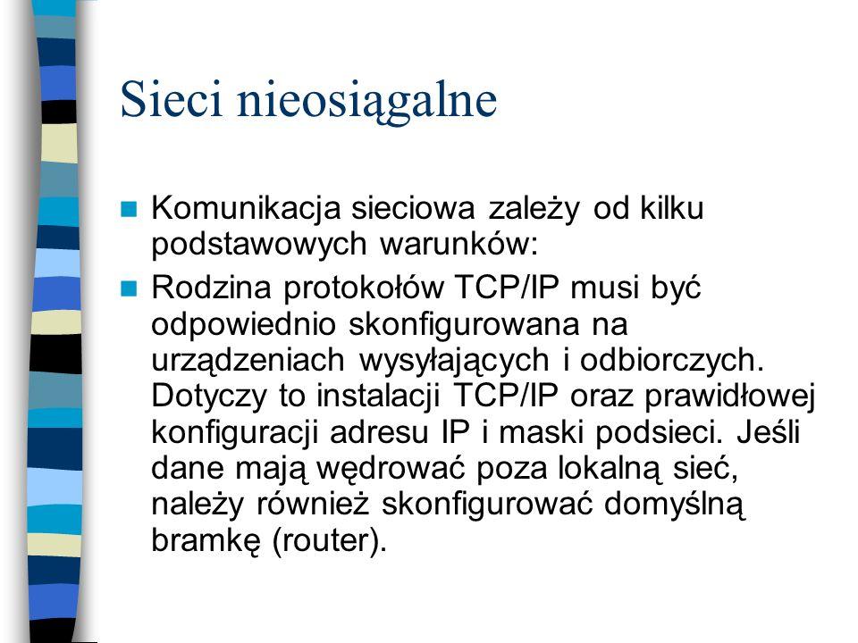 Sieci nieosiągalneKomunikacja sieciowa zależy od kilku podstawowych warunków: