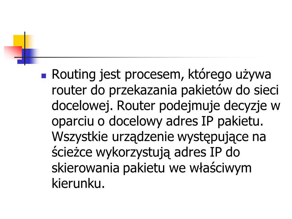 Routing jest procesem, którego używa router do przekazania pakietów do sieci docelowej.