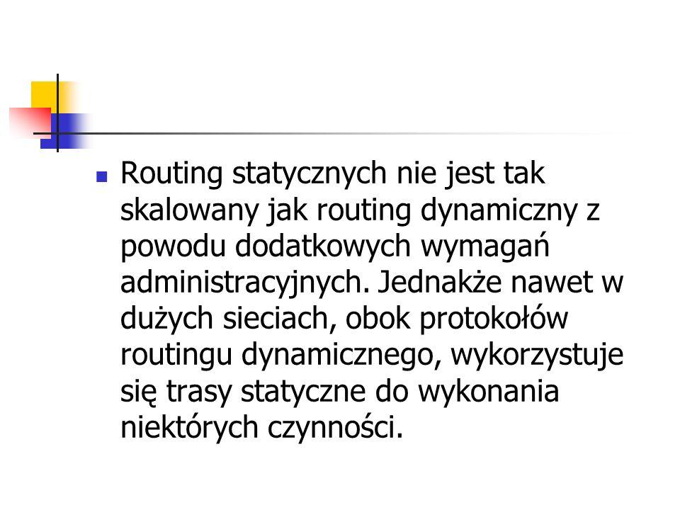 Routing statycznych nie jest tak skalowany jak routing dynamiczny z powodu dodatkowych wymagań administracyjnych.