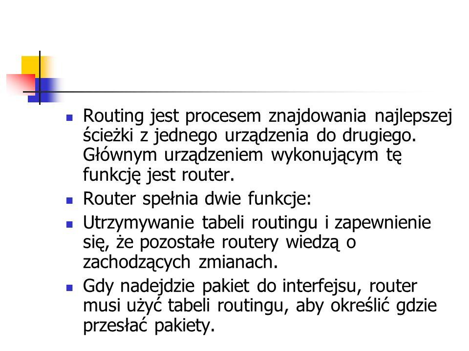 Routing jest procesem znajdowania najlepszej ścieżki z jednego urządzenia do drugiego. Głównym urządzeniem wykonującym tę funkcję jest router.