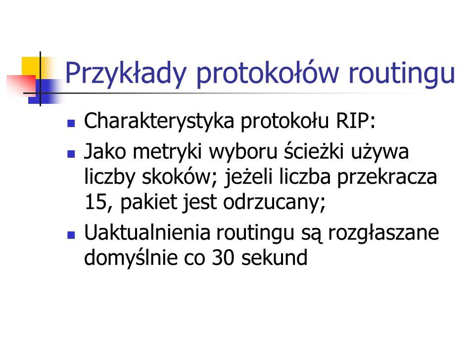 Przykłady protokołów routingu