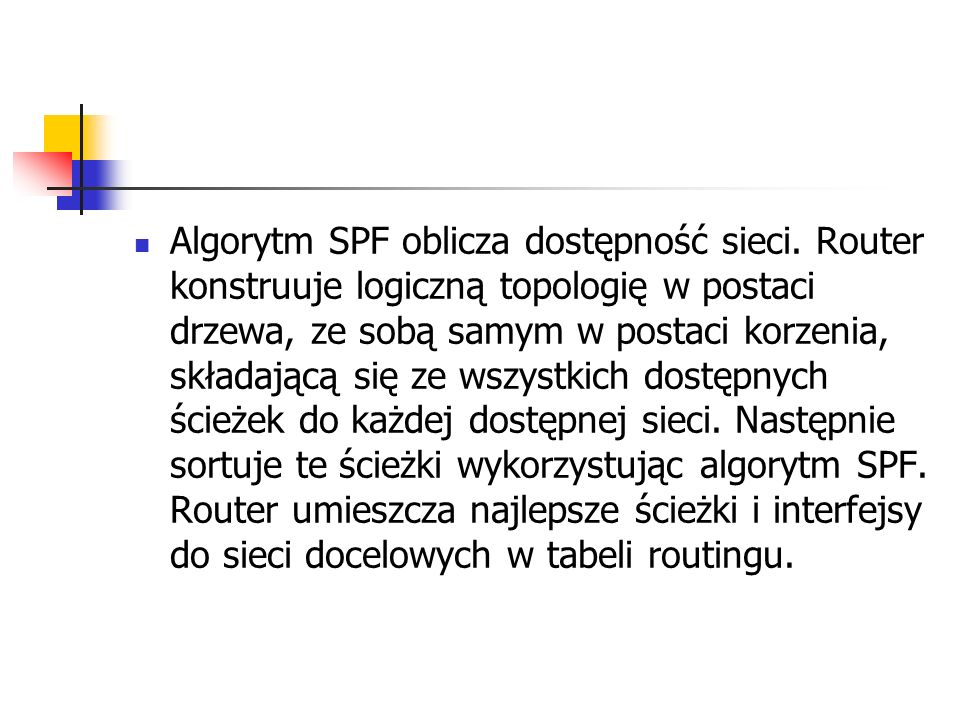 Algorytm SPF oblicza dostępność sieci